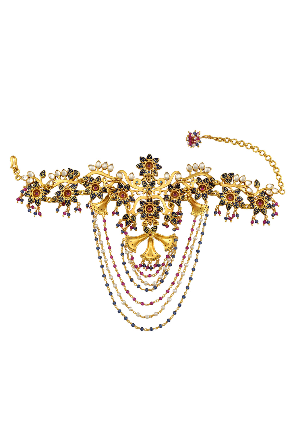 Silver Gold Plated Enamelled Multi Glass Tassel Floral Bazubandh