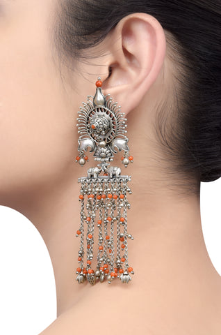 Silver Oxidised Elephant Coral Beaded Tassel Earrings