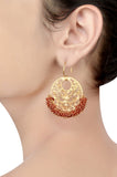 Silver Gold Plated Red Onyx Hanging Beads Jaali Earrings