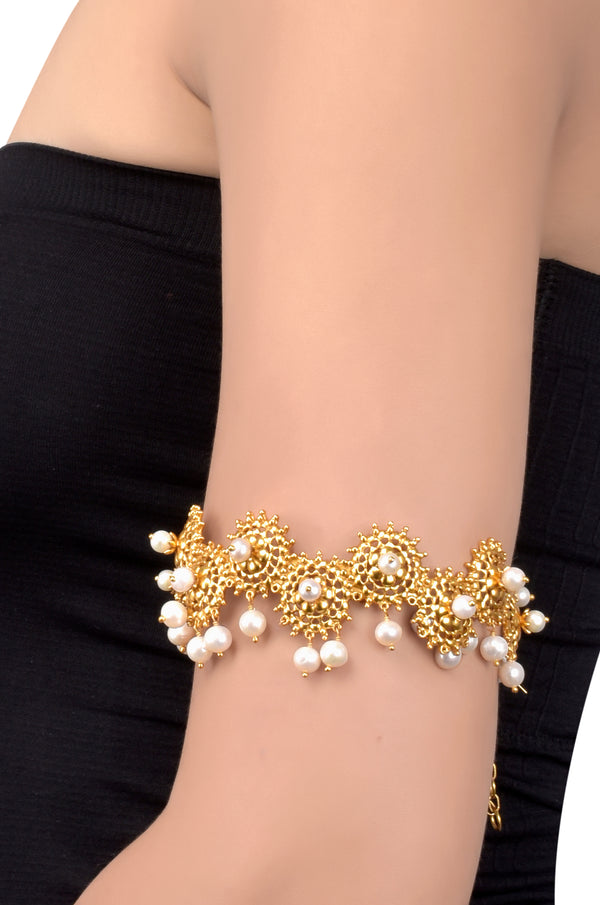 Silver Gold Plated Sun Jaali Pearl Armlet