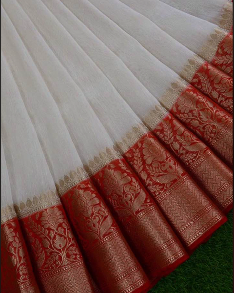 Linen Sari with a Benarasi border.