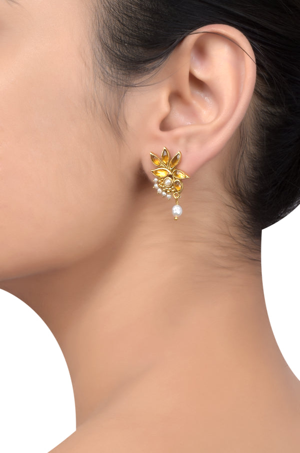 Silver Gold Plated Citrine Leaf Pearl Drop Earrings