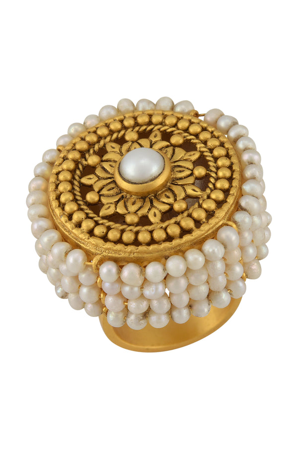 SILVER GOLD PLATED FLORAL PEARL LINED EMBELLISHMENT RING