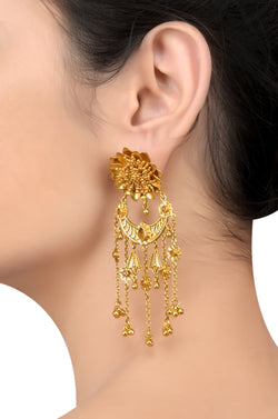 Silver Gold Plated Flower Citrine Tassel Earrings