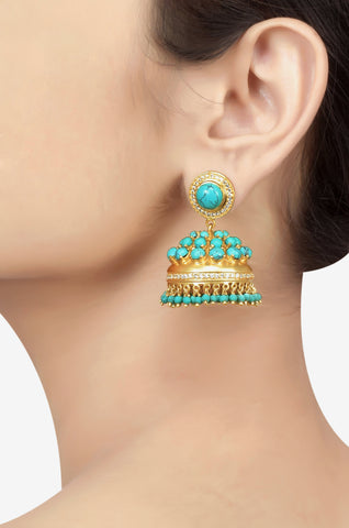 Silver Gold Plated Turquoise Studded Zircon Jhumka