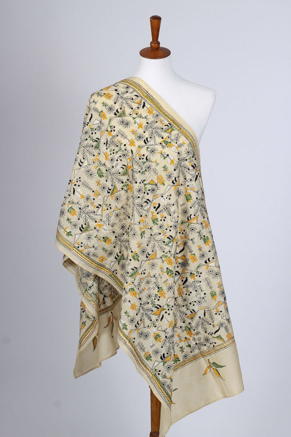 Off White Kantha Stole