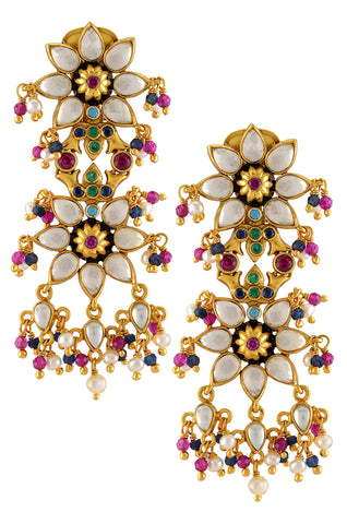 Silver Gold Plated Enamelled Floral Multi Crystal Pearl Drop Earrings