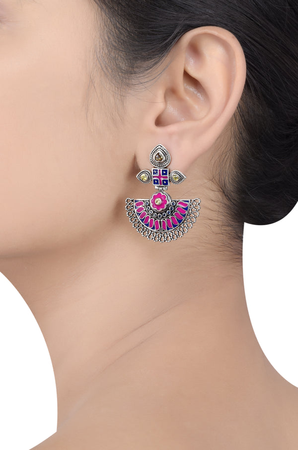 Silver Enameled Floral Tribal Pop Earrings