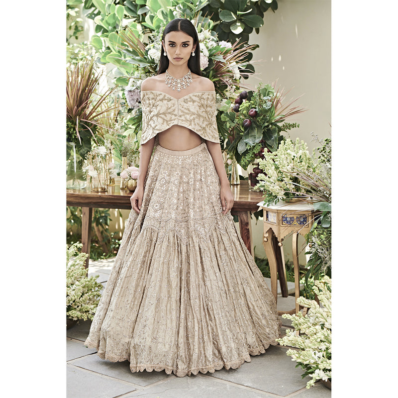 Beige Lehenga Paired With Off Shoulder Wrap