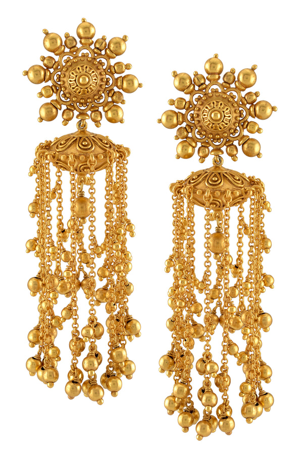 Silver Gold Plated Floral Tassel Rawa Ball Droplet Earrings