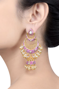 Gold Plated Pink Double Crescent Moon Jhumka
