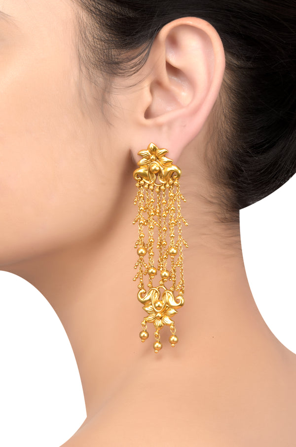 Silver Gold Plated Floral Chain Rawa Drop Earrings