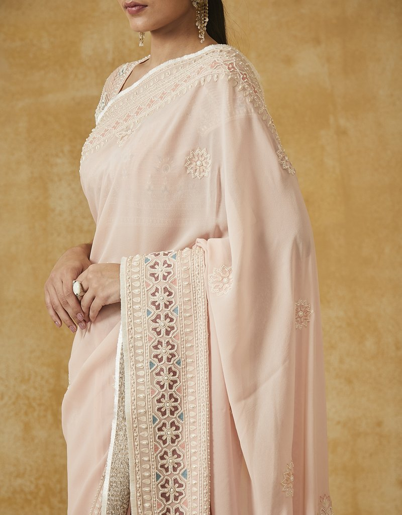 Embroidered Georgette Saree With Blouse