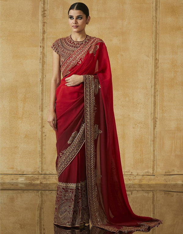 Saree With Embroidered Blouse