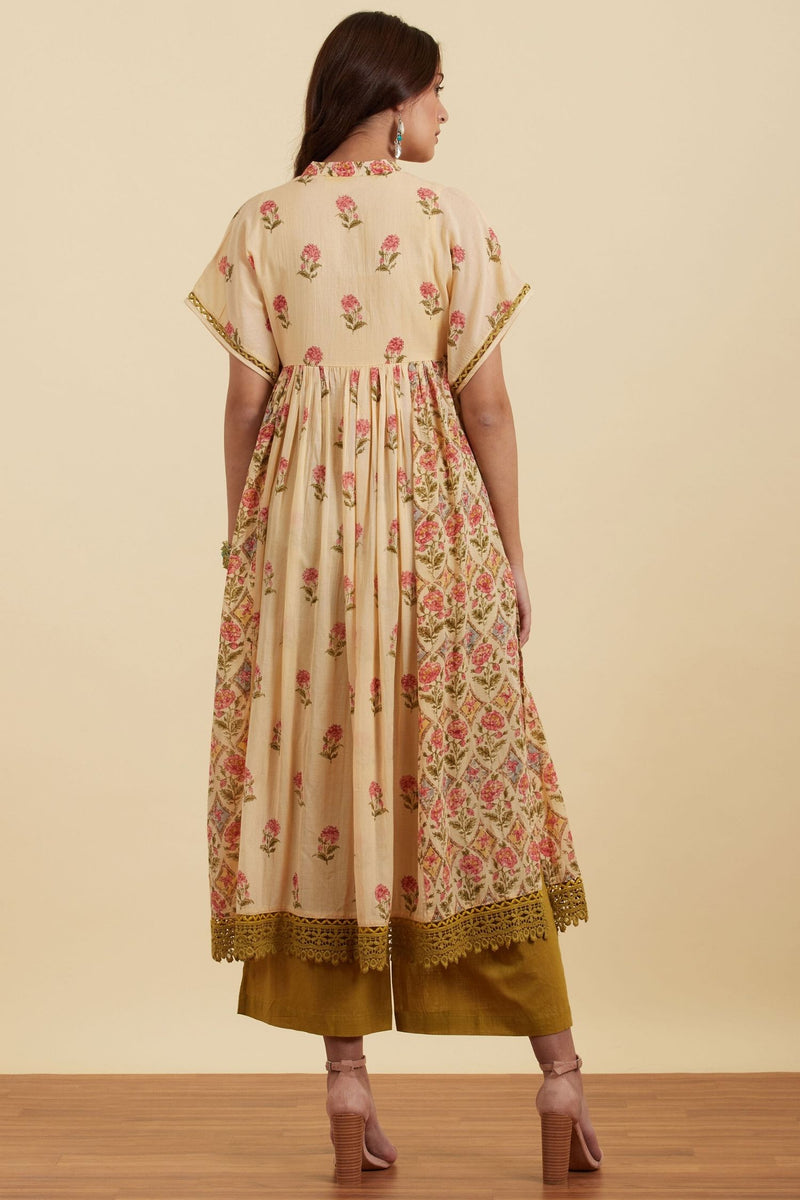 Beige Paisley Print Kurta With Trousers