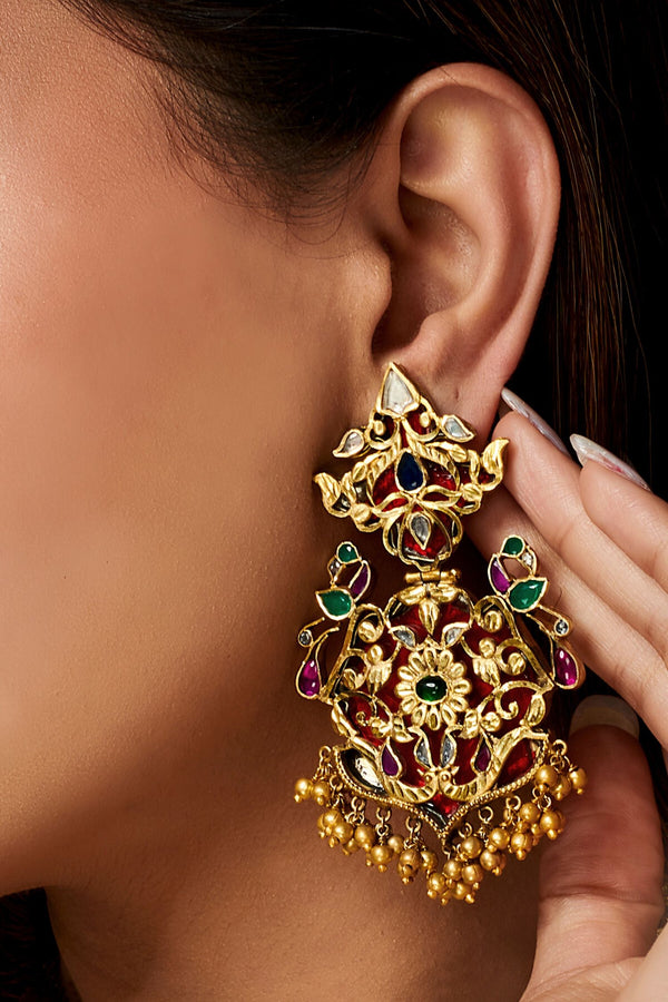 Silver Gold Plated Colourful Glass Peacock Atulya Earrings