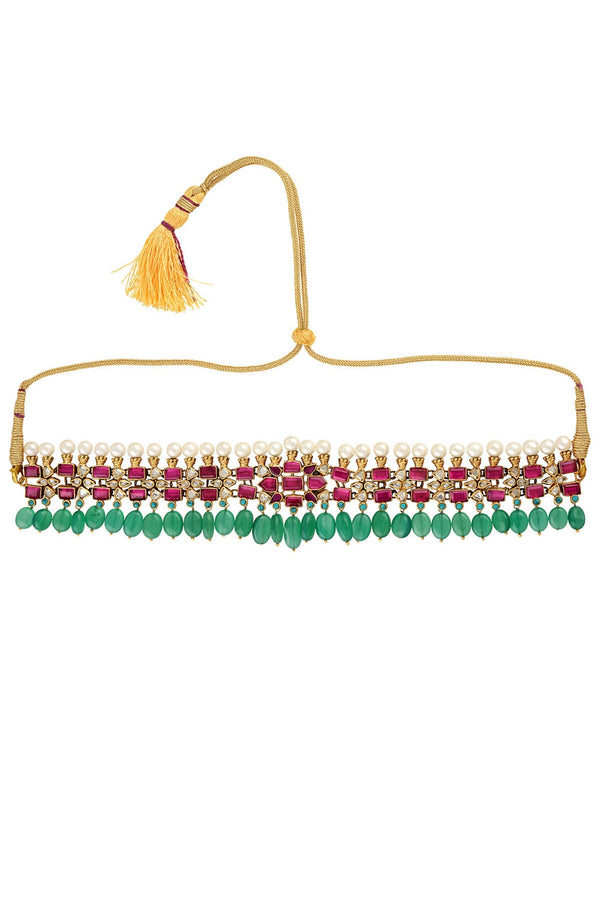 SILVER GOLD PLATED PHULWARI THREAD CHOKER