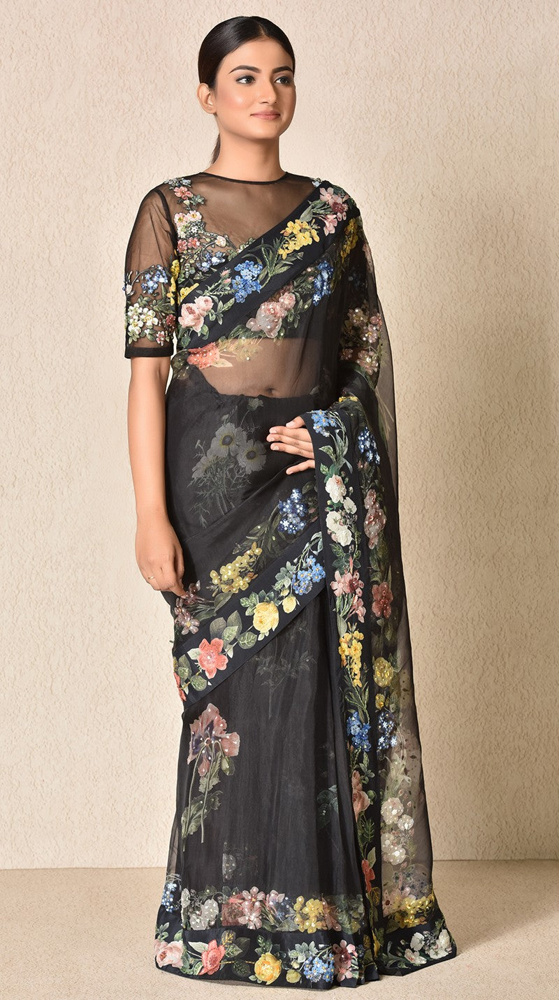Black Floral Print Embroidered Saree With Stitched Blouse