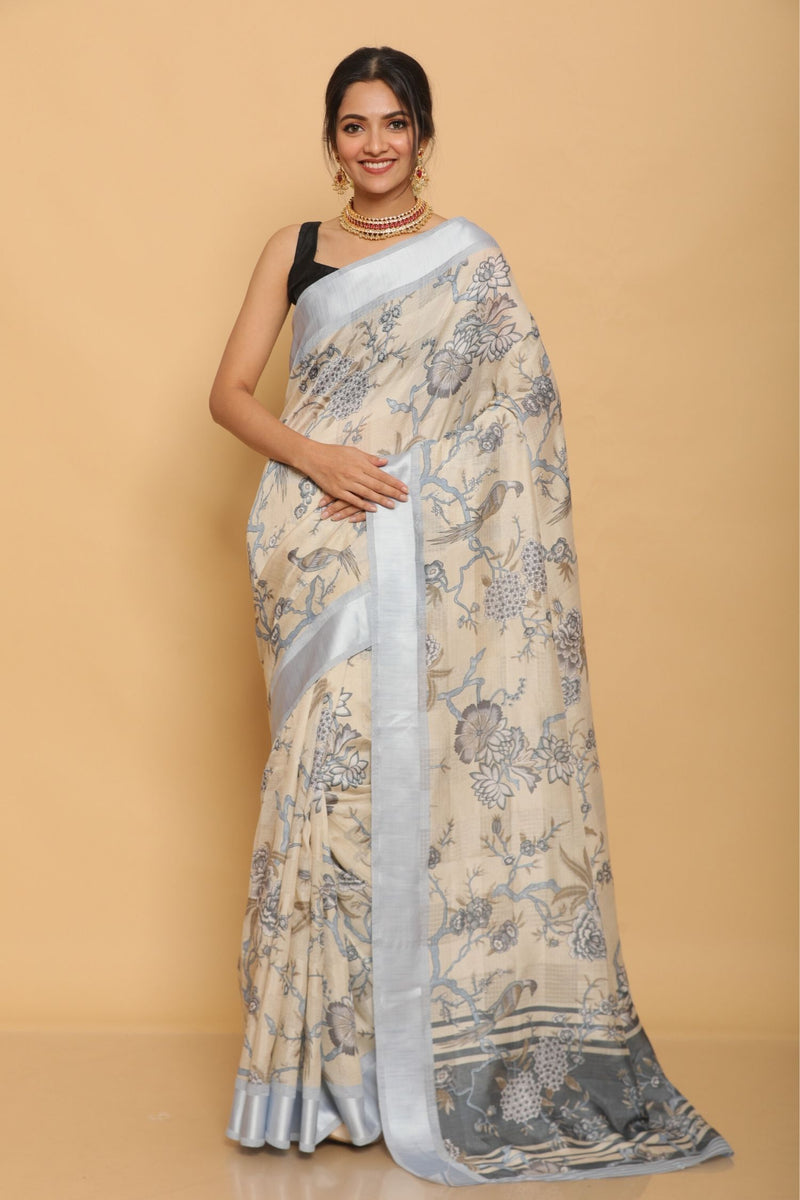 Ivory and Blue Cotton Silk Saree