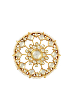 Silver Gold Plated Zia Floral Lotus White Round Ring