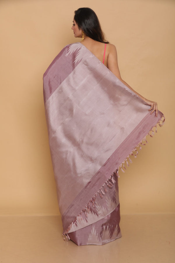 Lavendar Kanjiveram Temple Border Saree