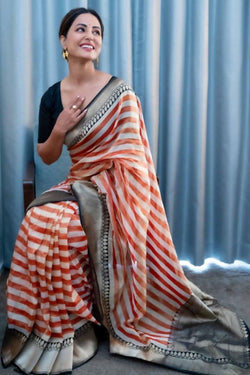 Off White-Red Pure Cotton Tissue Benarasi Saree