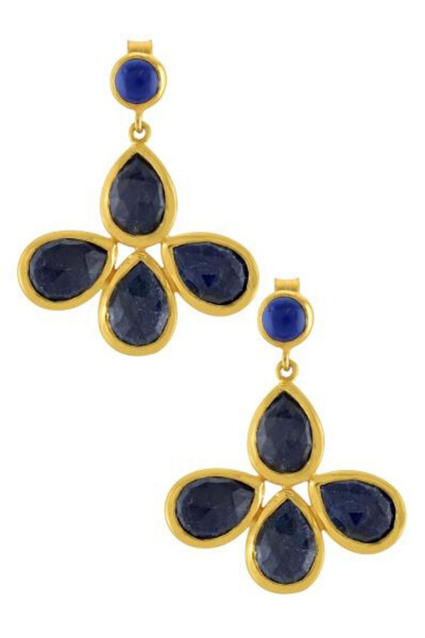 SILVER GOLD PLATED FLORAL LAPIS DROP EARRINGS