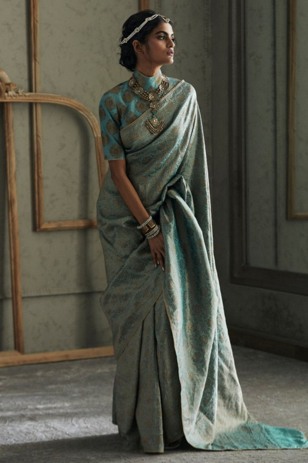 Brocade Saree Finished With A Gota Braid Paired With Blouse Fabric