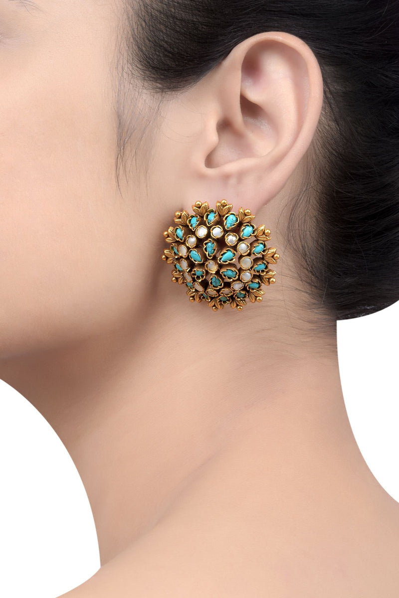 Silver Gold Plated Turquoise Flower Dome Ear Studs