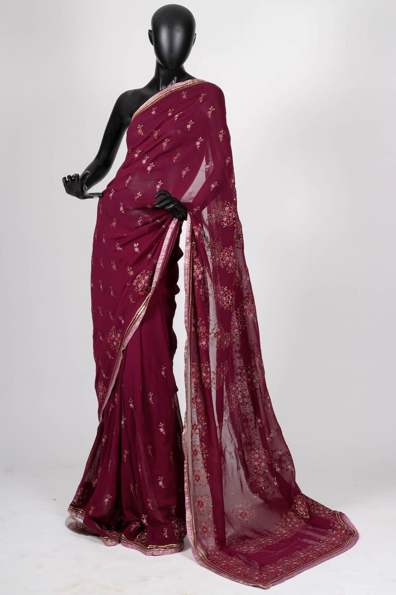 Purple georgette saree