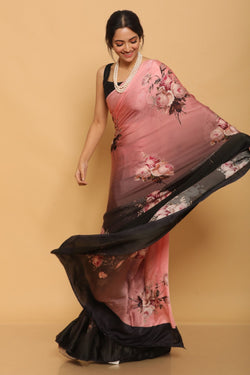 Printed Satin Saree