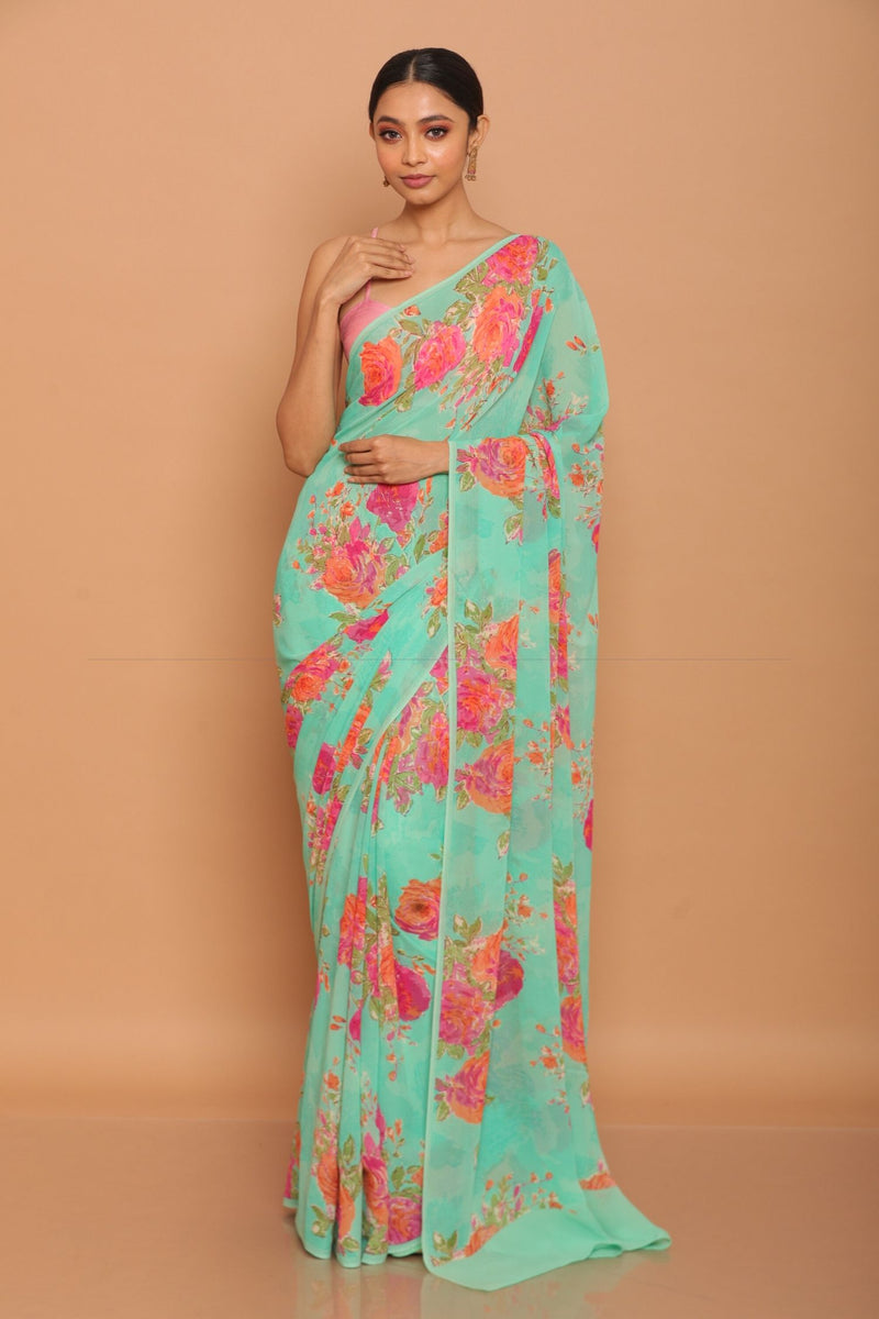 Printed Georgette Saree