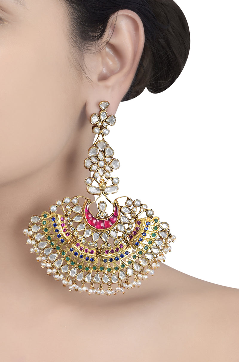 Silver Gold Plated Colorful Glass Pearl Chaand Earrings
