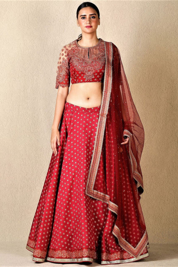 Red & Gold Embroidered Lehenga Set
