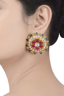 Silver Gold Plated Glass Flower Ear Studs