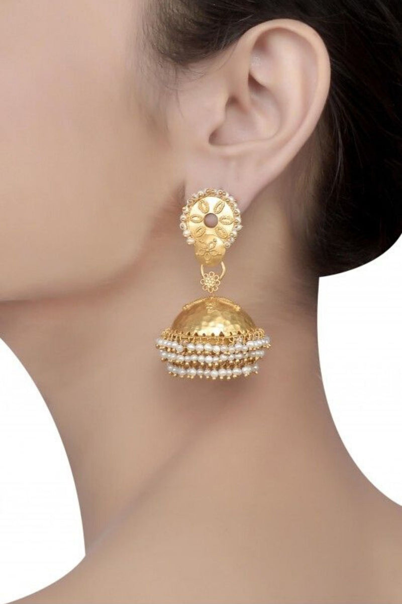 Silver Gold Plated Jhumka Earrings