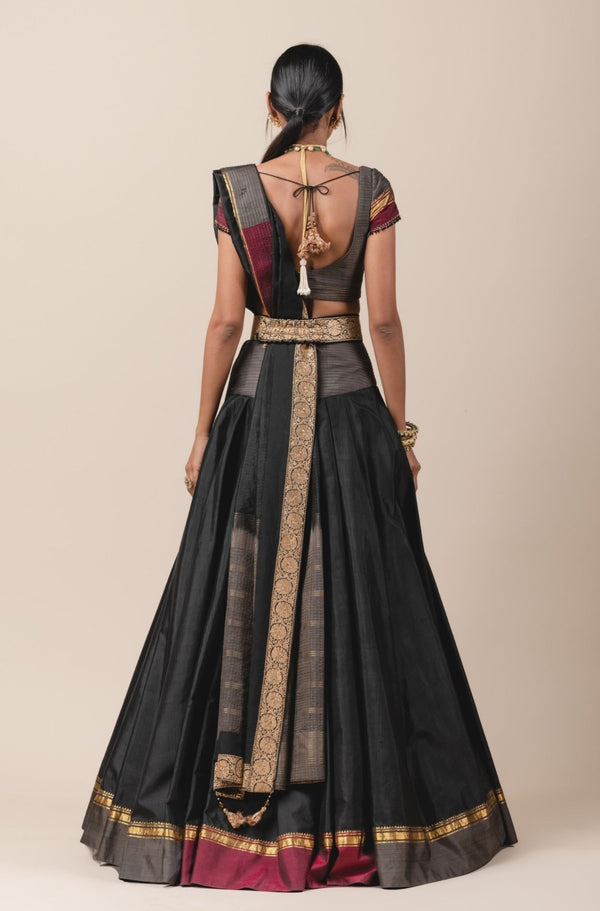 Pleated Lehenga Set in Kanjiveram Silk