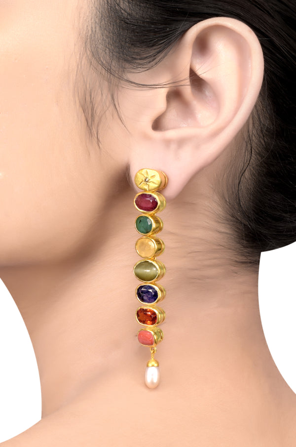 Silver Gold Plated Navratna Oval Star Earrings