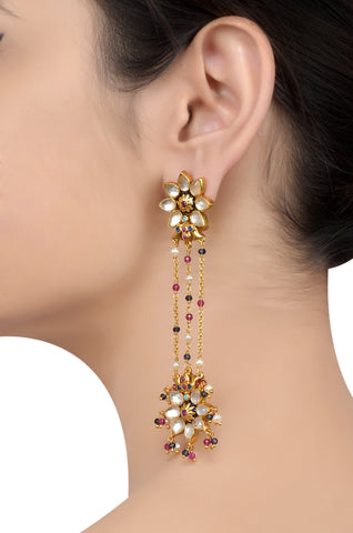 Silver Gold Plated Flower Drop Crystal Tassel Earrings