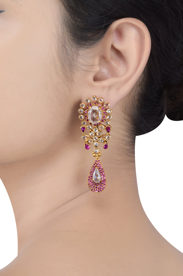 Silver Gold Plated Pink White Glass Floral Pear Drop Ear Studs