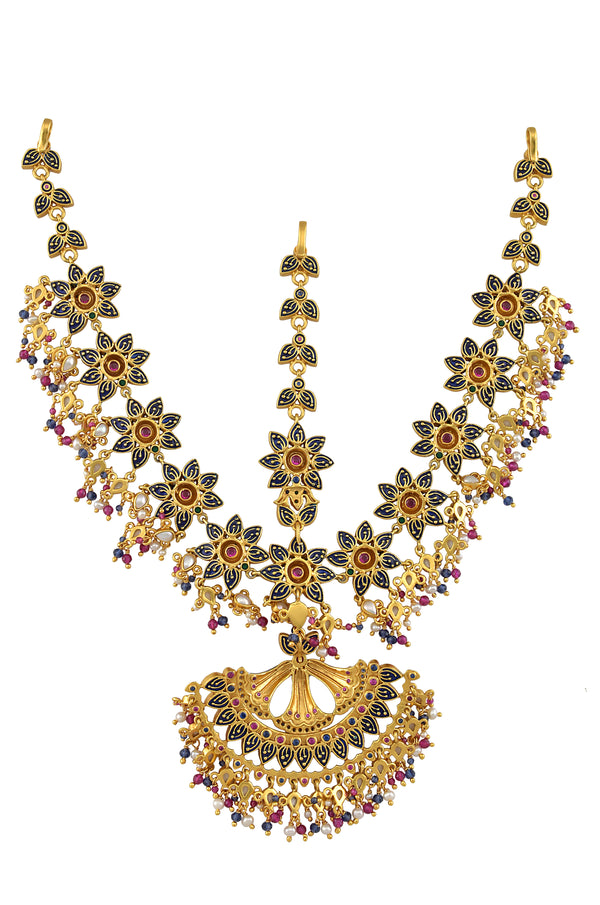 38235891ad Silver Gold Plated Multi Floral Enamelled Crystal Pearl Moon Maathapatti ...