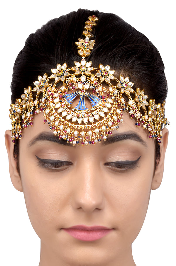 Silver Gold Plated Multi Floral Enamelled Crystal Pearl Moon Maathapatti