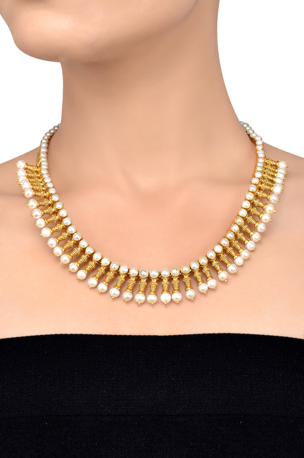 Silver Gold Plated Citrine Pearl Rawa Necklace