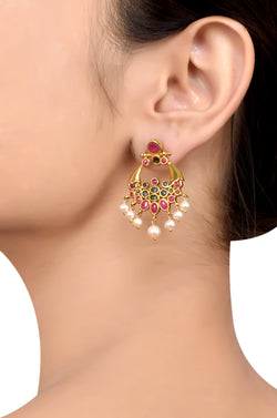 Silver Gold Plated Pink Blue Glass Pearl Droplet Earrings