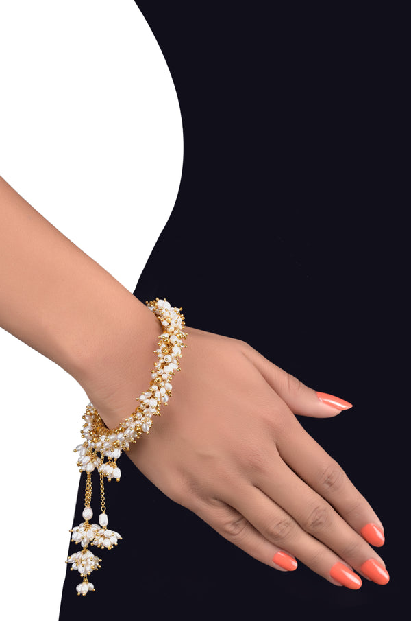 Silver Gold Plated Pearl Cluster Charm Drop Bangle