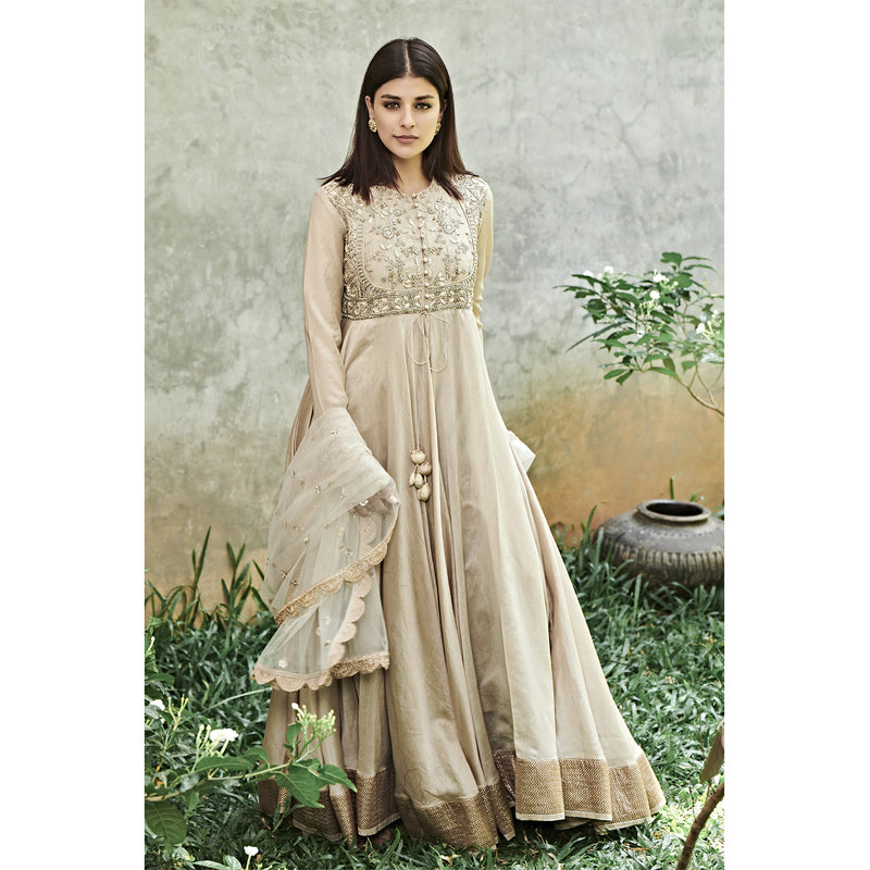 Beige Anarkali Set