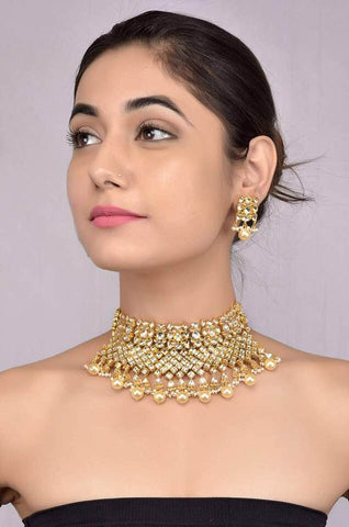 Silver Gold Plated Crystal Necklace set
