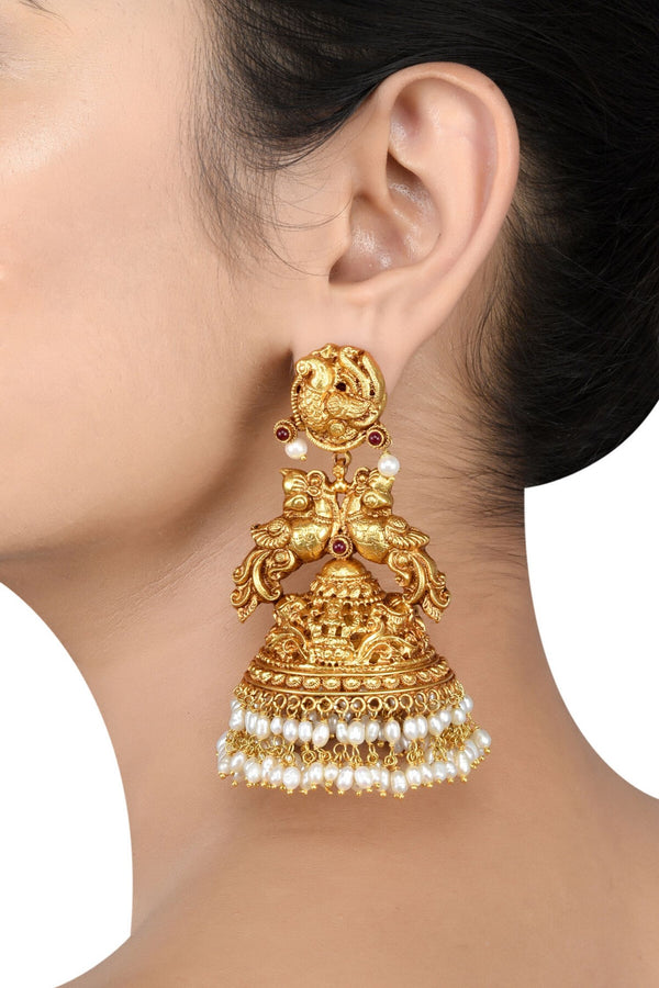 Silver Gold Plated Peacock Floral Devaya Pearl Earrings