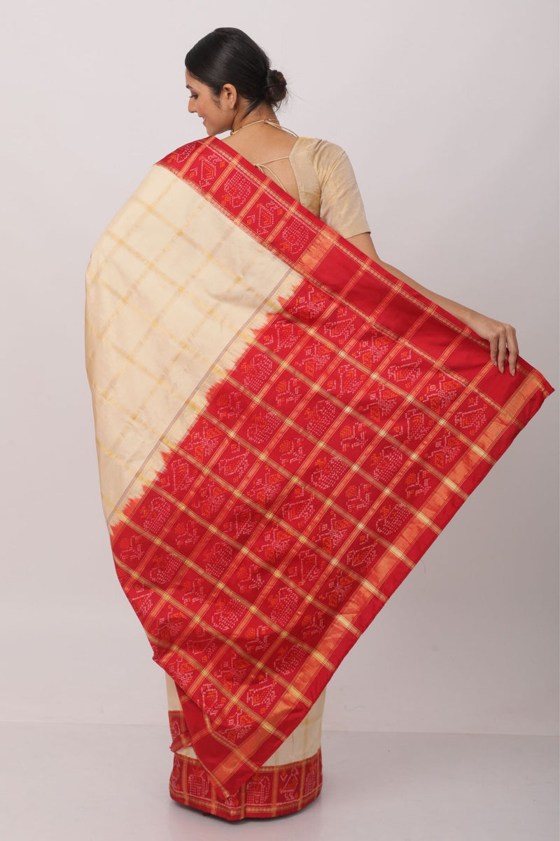 Creme and Red Gharchola sari