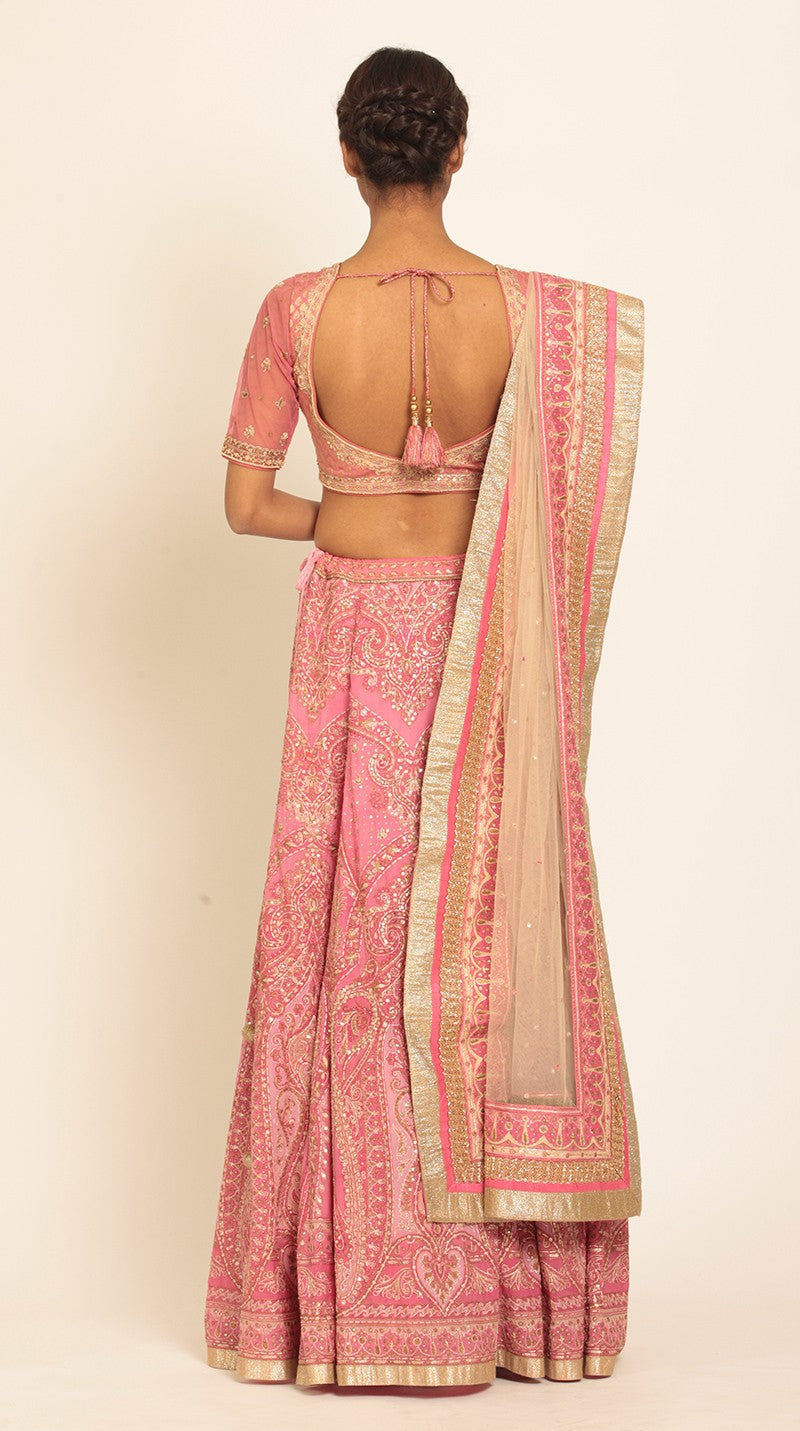 Pink & Off White Embroidered Lehenga With Dupatta